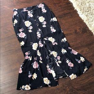 Love Fire Maxi Floral Flounce Skirt